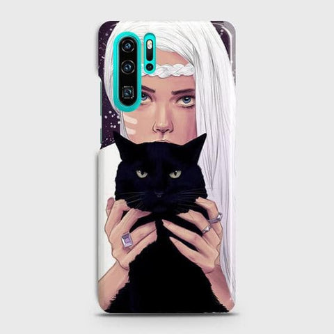 Huawei P30 Pro Cover - Trendy Wild Black Cat Printed Hard Case with Life Time Colors Guarantee