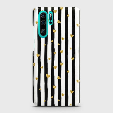 Trendy Black & White Strips With Golden Hearts Hard Case For Huawei P30 Pro