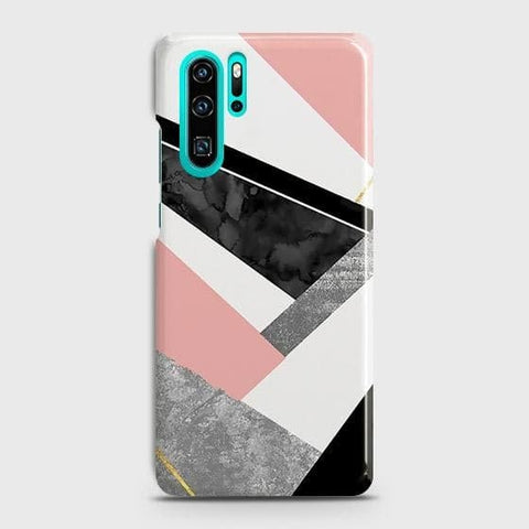 Huawei P30 Pro Cover - Geometric Luxe Marble Trendy Printed Hard Case with Life Time Colors Guarantee
