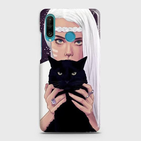 Trendy Wild Black Cat Case For Huawei P30 lite