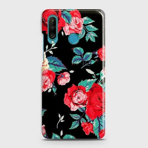 Luxury Vintage Red Flowers Case For Huawei P30 lite