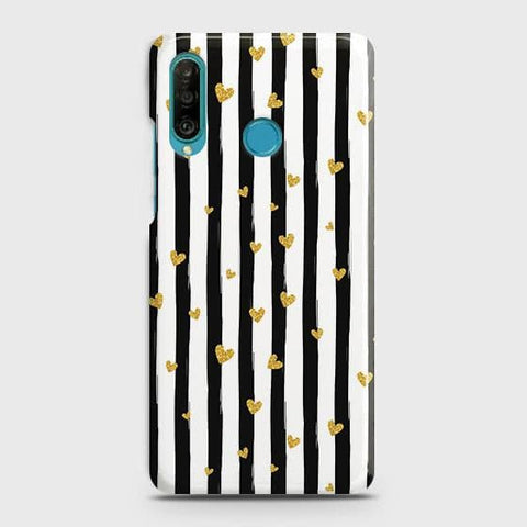 Trendy Black & White Strips With Golden Hearts Hard Case For Huawei P30 lite