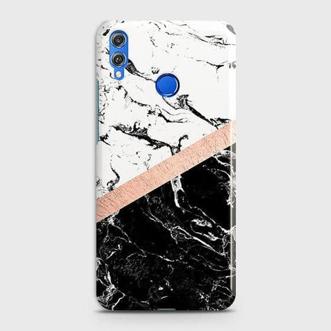 3D Black & White Marble With Chic RoseGold Strip Case For Huawei P smart 2019