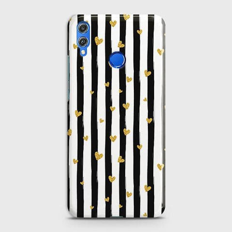 Trendy Black & White Strips With Golden Hearts Hard Case For Huawei P smart 2019