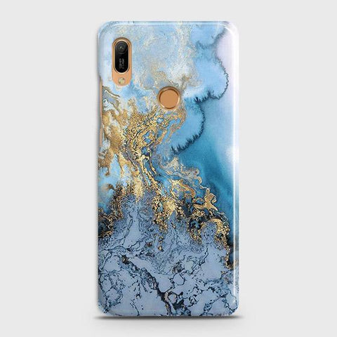 3D Trendy Golden & Blue Ocean Marble Case For Huawei Y6 2019