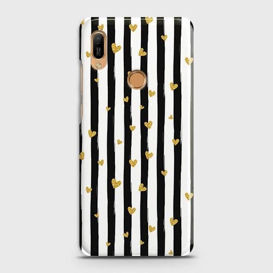 Trendy Black & White Strips With Golden Hearts Hard Case For Huawei Y6 Prime 2019