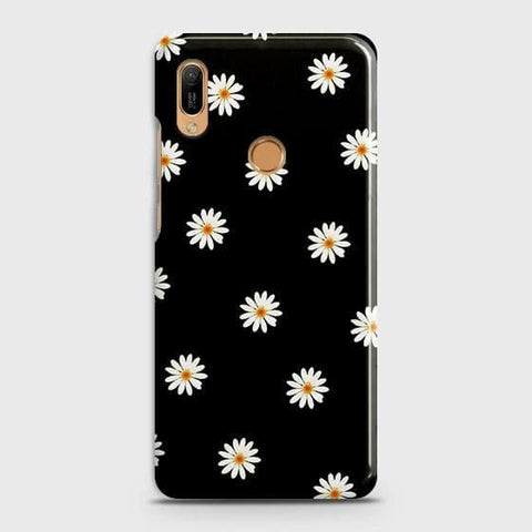 White Bloom Flowers with Black Background Case For Huawei Y6 Prime 2019