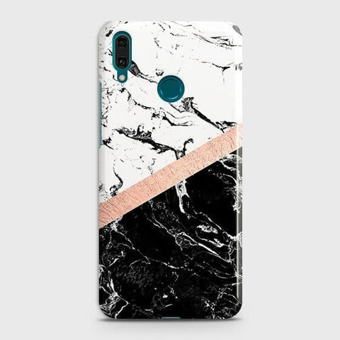3D Black & White Marble With Chic RoseGold Strip Case For Huawei Y7 2019