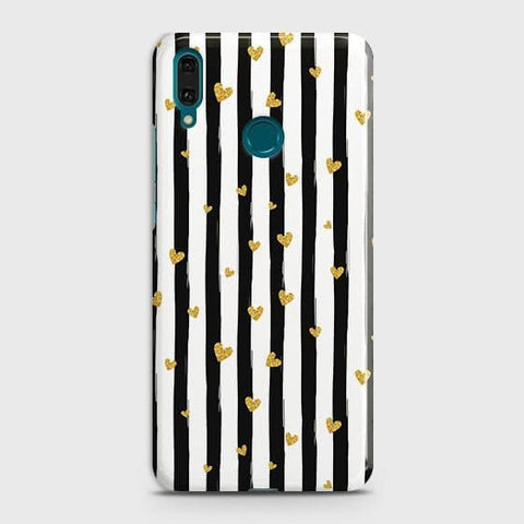 Trendy Black & White Strips With Golden Hearts Hard Case For Huawei Y7 2019