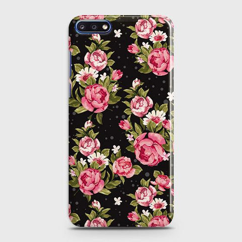 Trendy Pink Rose Vintage Flowers Case For Huawei Y7 Pro 2018