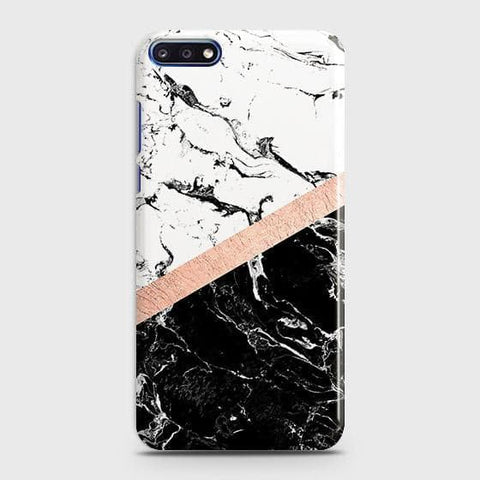 3D Black & White Marble With Chic RoseGold Strip Case For Huawei Y7 Pro 2018