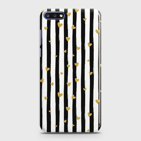 Trendy Black & White Strips With Golden Hearts Hard Case For Huawei Y7 Pro 2018
