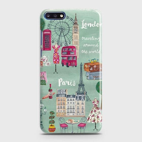 London, Paris, New York Modern Case For Huawei Y7 Pro 2018