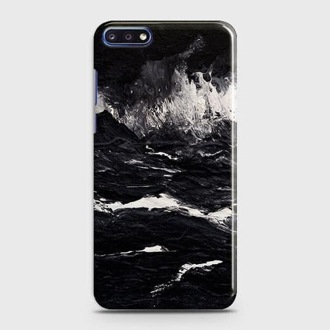 3D Black Ocean Marble Trendy Case For Huawei Y7 Pro 2018