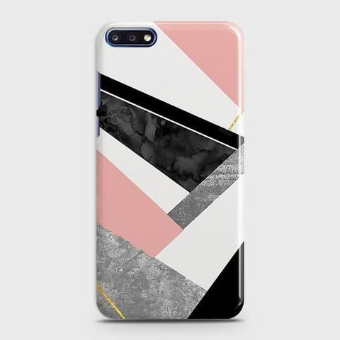 Geometric Luxe Marble Trendy Case For Huawei Y7 Pro 2018