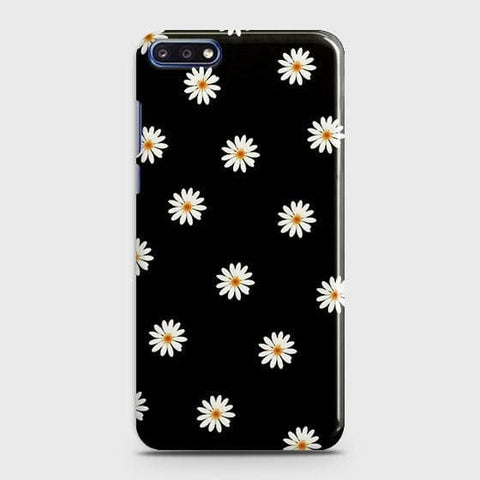 White Bloom Flowers with Black Background Case For Huawei Y7 Pro 2018