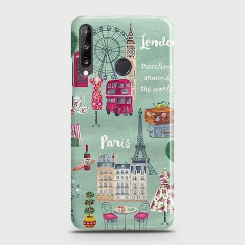 Huawei Y7p Cover - London, Paris, New York ModernPrinted Hard Case with Life Time Colors Guarantee
