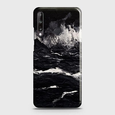 Huawei Y7p Cover - Black Ocean Marble Trendy Printed Hard Case with Life Time Colors Guarantee