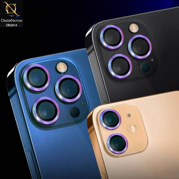 iPhone 12 Protector- Multi Color - New Stylish Colorful Gradient Shades Lens Film