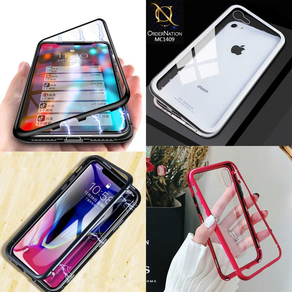 Luxury HQ Shatterproof Magnetic Back Glass Case for iPhone Xs / X - No Glass On Screen Side - Black