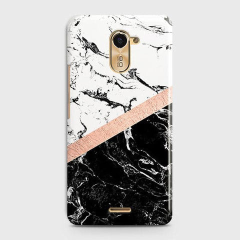 3D Black & White Marble With Chic RoseGold Strip Case For Infinix Hot 4 / X557