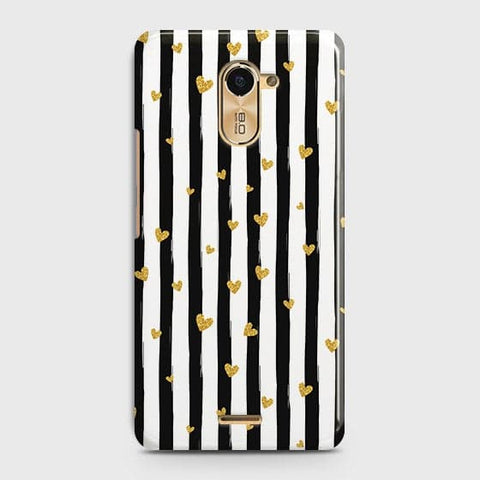 Trendy Black & White Strips With Golden Hearts Hard Case For Infinix Hot 4 / X557