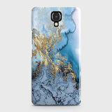 Infinix Note 4 / X572 - Trendy Golden & Blue Ocean Marble Printed Hard Case with Life Time Colors Guarantee