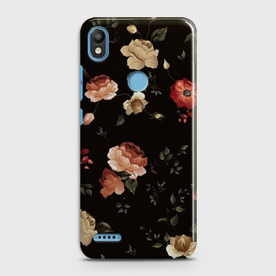 Infinix Smart 2 / X5515 Cover - Dark Rose Vintage Flowers Printed Hard Case with Life Time Colors Guarantee