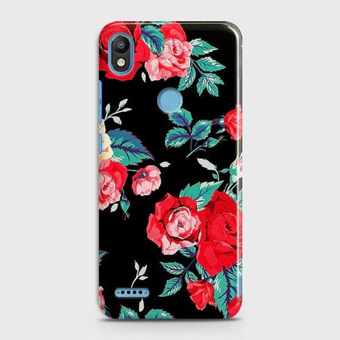 Luxury Vintage Red Flowers Case For Infinix Smart 2 / X5515