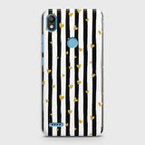 Infinix Smart 2 / X5515 Cover - Trendy Black & White Strips With Golden Hearts Printed Hard Case with Life Time Colors Guarantee