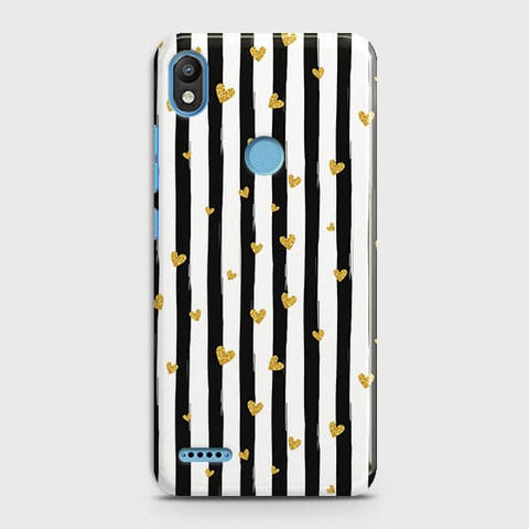 Trendy Black & White Strips With Golden Hearts Hard Case For Infinix Smart 2 / X5515