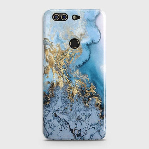 Printed Trendy Golden & Blue Ocean Marble Case with Life Time Color Guarantee For Infinix Zero 5