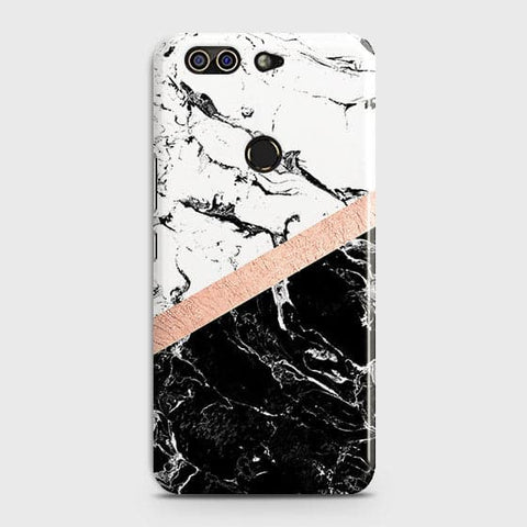3D Black & White Marble With Chic RoseGold Strip Case For Infinix Zero 5
