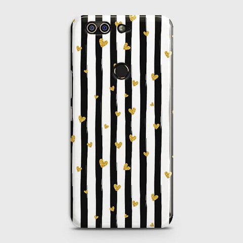 Trendy Black & White Strips With Golden Hearts Hard Case For Infinix Zero 5