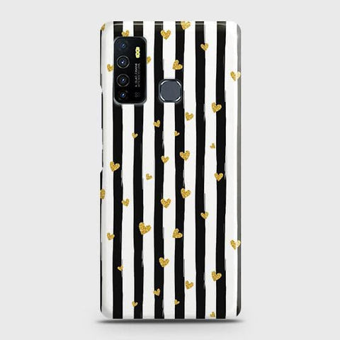 Infinix Hot 9 Pro Cover - Trendy Black & White Strips With Golden Hearts Printed Hard Case with Life Time Colors Guarantee
