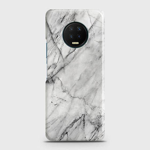 Infinix Note 7 Cover - Trendy White Marble Printed Hard Case with Life Time Colors Guarantee