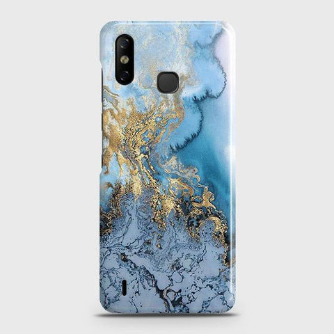 Infinix Smart 4 Cover - Trendy Golden & Blue Ocean Marble Printed Hard Case with Life Time Colors Guarantee