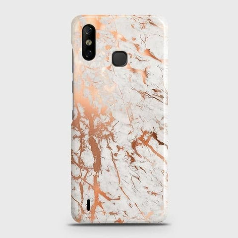 Infinix Smart 4 Cover - In Chic Rose Gold Chrome Style Printed Hard Case with Life Time Colors Guarantee