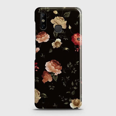 Infinix Smart 4 Cover - Dark Rose Vintage Flowers Printed Hard Case with Life Time Colors Guarantee
