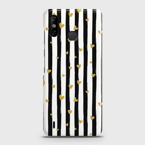 Infinix Smart 4 Cover - Trendy Black & White Strips With Golden Hearts Printed Hard Case with Life Time Colors Guarantee