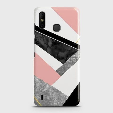 Infinix Smart 4 Cover - Geometric Luxe Marble Trendy Printed Hard Case with Life Time Colors Guarantee