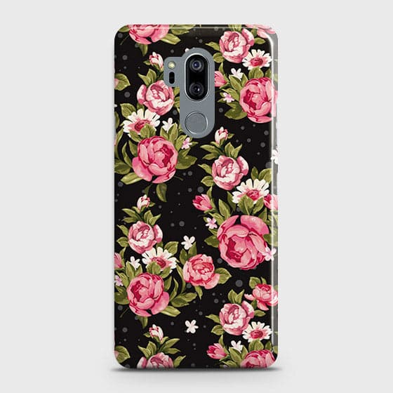 LG G7 ThinQ Cover - Trendy Pink Rose Vintage Flowers Printed Hard Case with Life Time Colors Guarantee(1b28 )