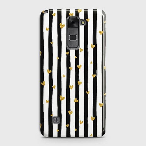 Trendy Black & White Strips With Golden Hearts Hard Case For LG Stylus 2 / Stylo 2