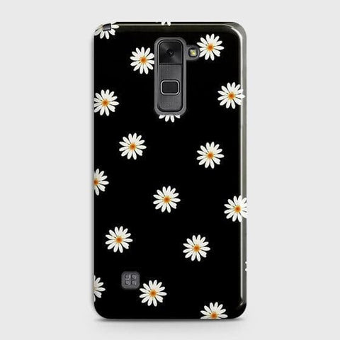 LG Stylus 2 / Stylus 2 Plus / Stylo 2 / Stylo 2 Plus Cover - White Bloom Flowers with Black Background Printed Hard Case with Life Time Colors Guarantee