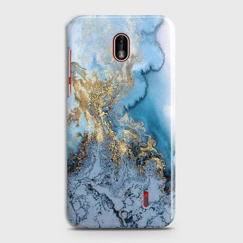 Nokia 1 Plus Cover - Trendy Golden & Blue Ocean Marble Printed Hard Case with Life Time Colors Guarantee