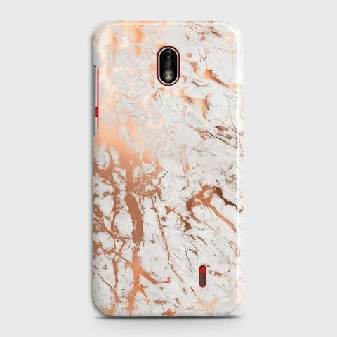 Nokia 1 Plus Cover - In Chic Rose Gold Chrome Style Printed Hard Case with Life Time Colors Guarantee