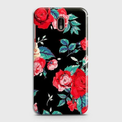 Nokia 1 Plus Cover - Luxury Vintage Red Flowers Printed Hard Case with Life Time Colors Guarantee