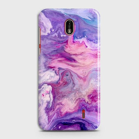 Nokia 1 Plus Cover - Chic Blue Liquid Marble Printed Hard Case with Life Time Colors Guarantee