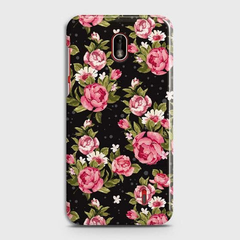 Nokia 1 Plus Cover - Trendy Pink Rose Vintage Flowers Printed Hard Case with Life Time Colors Guarantee