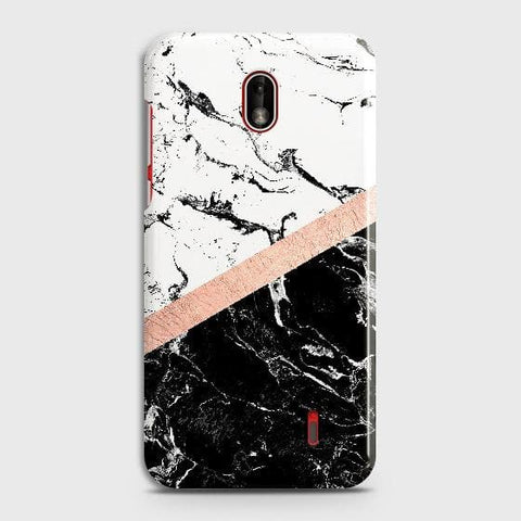 Nokia 1 Plus Cover - Black & White Marble With Chic RoseGold Strip Case with Life Time Colors Guarantee